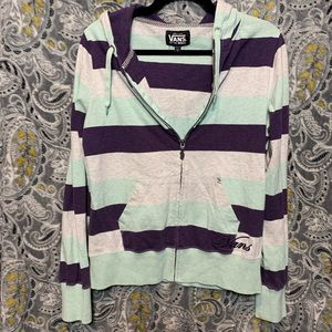 VANS Girls XL Purple Mint Heather Zip Up Hoodie